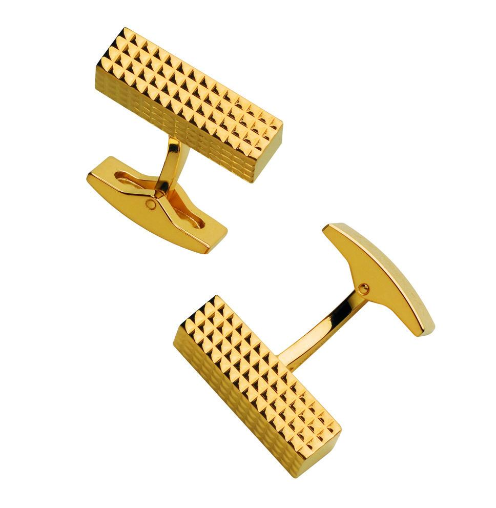 St Dupont Cuff Links Gold Plated Diamond Head Rectangle