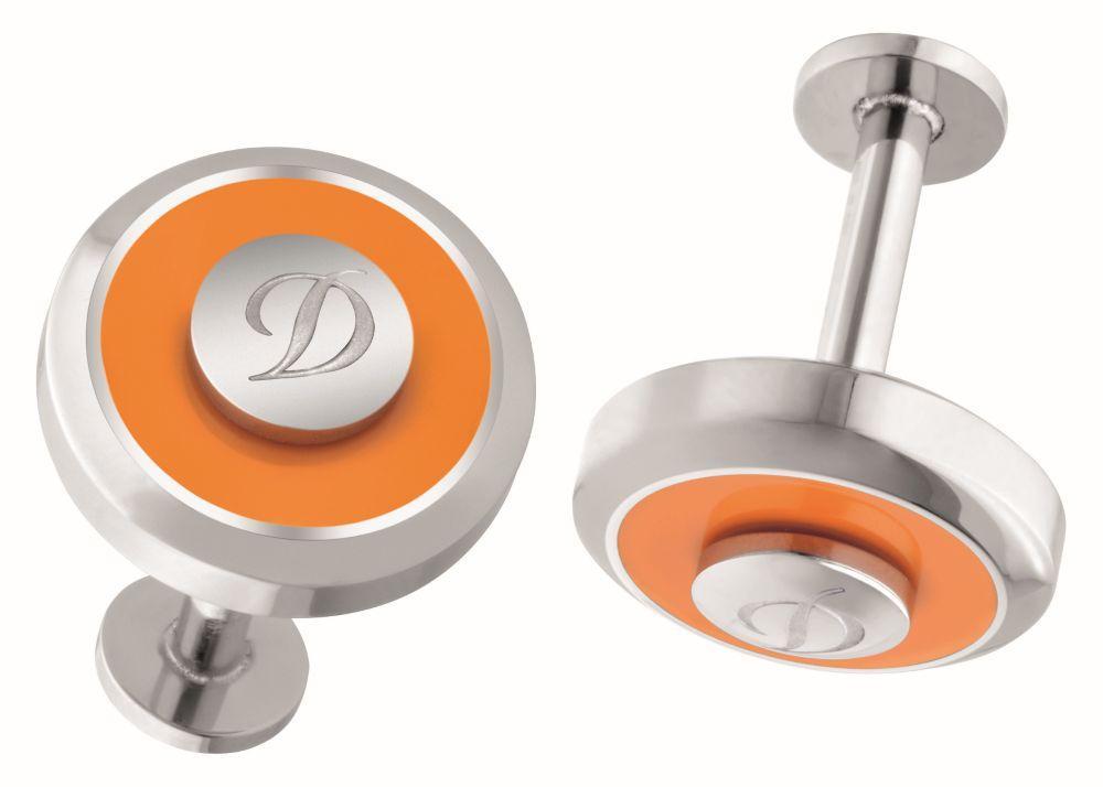 St Dupont - Cuff Links Jet Reversible Orange